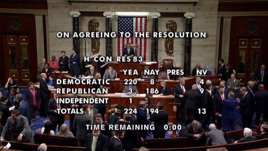 La Cámara Baja aprueba resolución para limitar los poderes de guerra de Trump