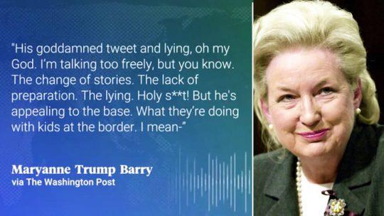 Hermana de Trump habla de política de separación de familias, mentiras y crueldad del presidente en grabaciones de audio