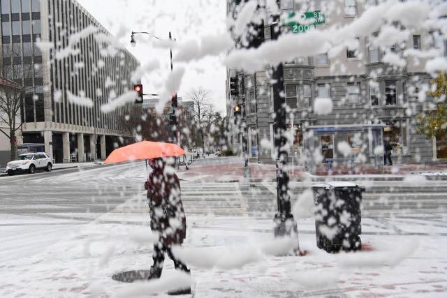 La primera nevada de diciembre en Washington