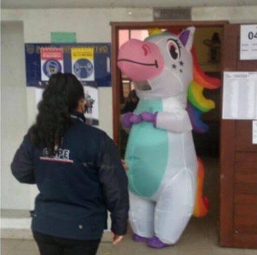 Unicornio fue a votar en Perú