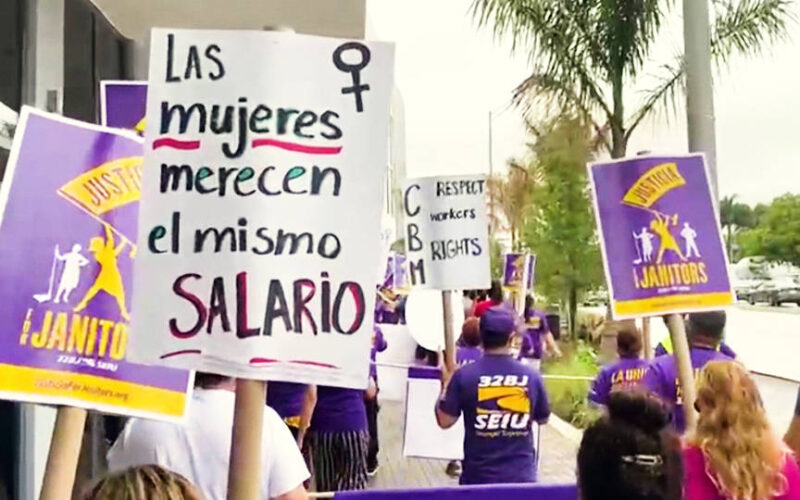 Trabajadores de limpieza se manifiestan para exigir justicia y condiciones de trabajo justas